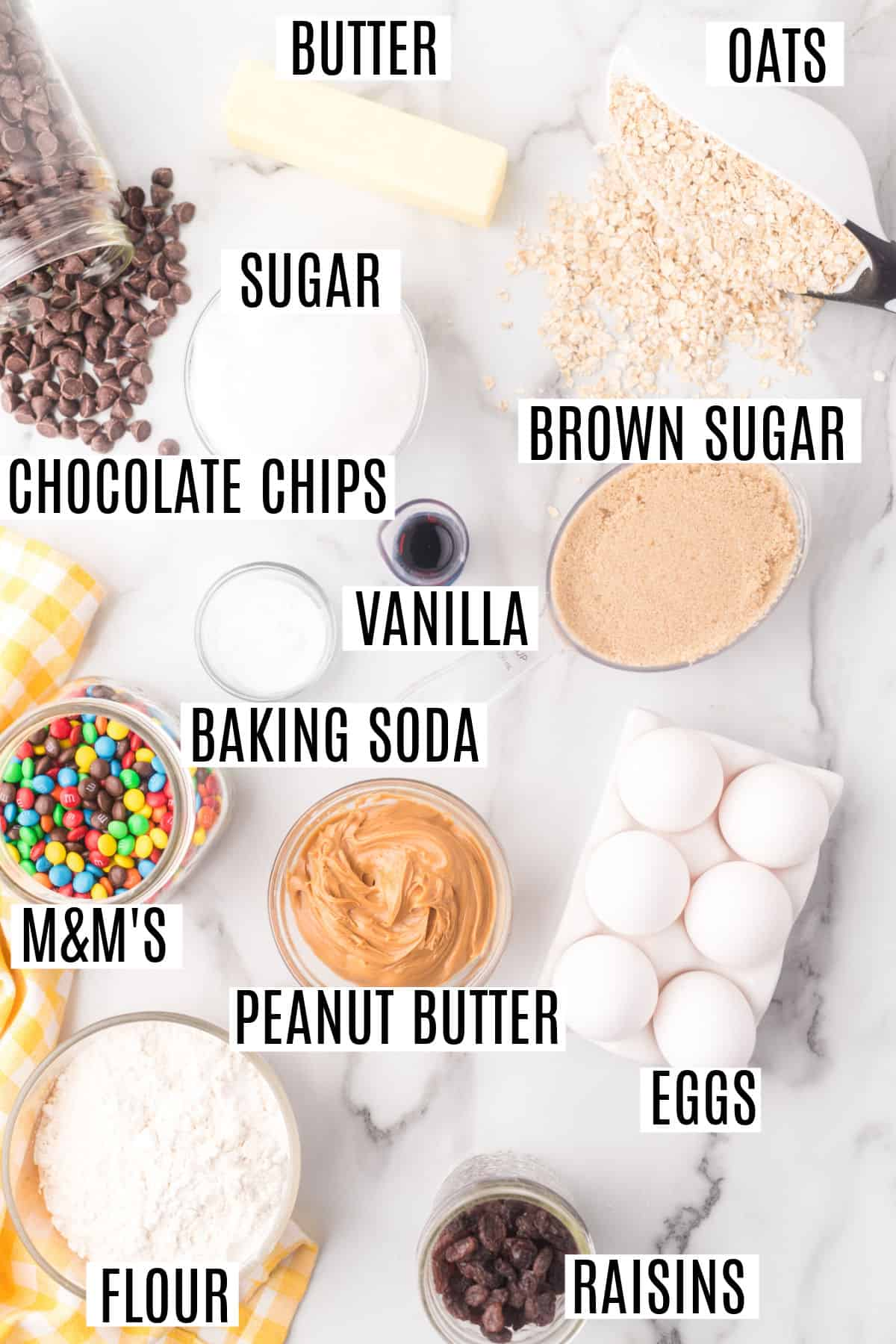Ingredients needed to make monster cookies.
