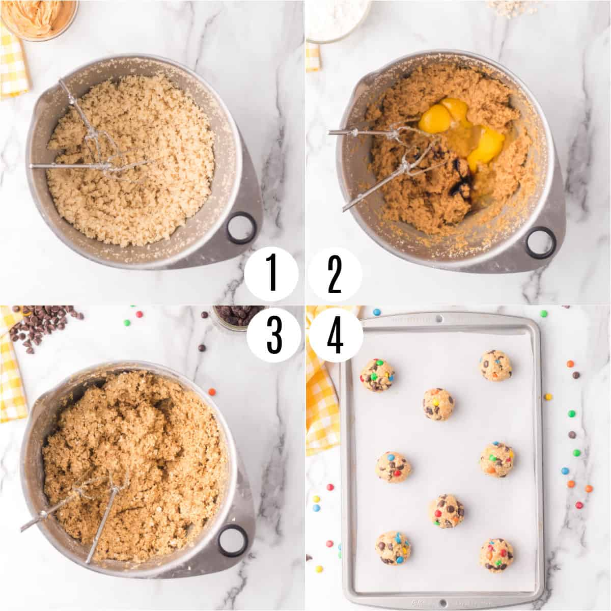 Step by step photos showing how to make monster cookies.