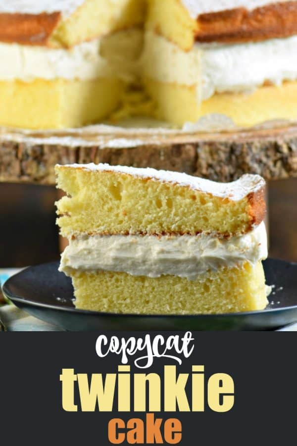 The perfect, not overly sweet, cake recipe, this delicious Twinkie Cake is made with yellow cake and sweet whipped cream filling. #vanilla #cake #yellowcake #twinkie