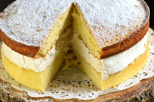 Twinkie Cake with homemade yellow cake and vanilla cream filling. Just like the childhood treat!