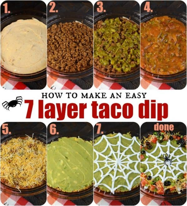 Easy steps to making a 7 Layer Taco Dip recipe! #gameday #appetizer #halloween