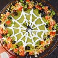 Easy Spooky Halloween 7 Layer Taco Dip recipe