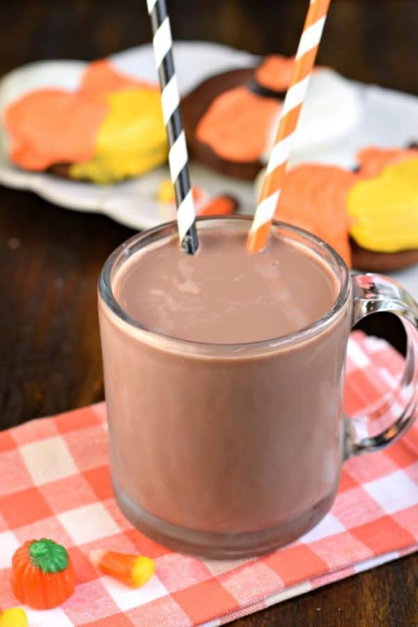 Chocolate Milk with Candy Corn Chocolate Donuts