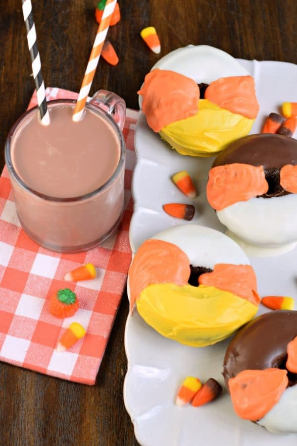 Chocolate Donuts with candy corn #halloween frosting!