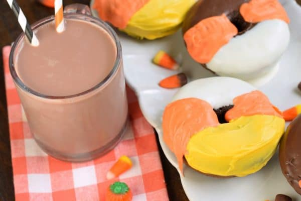 Chocolate Milk paired with Candy Corn baked Chocolate Donuts