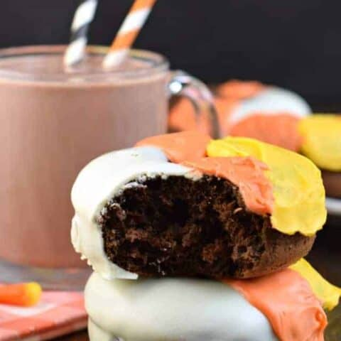 Candy Corn Chocolate Donuts