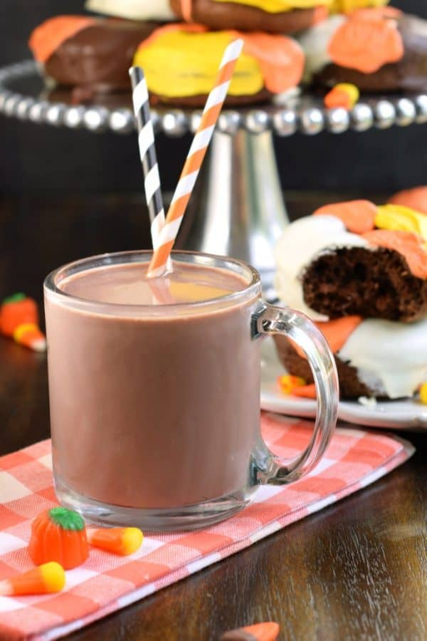 Candy Corn Chocolate Donuts with chocolate milk, the perfect #halloween breakfast