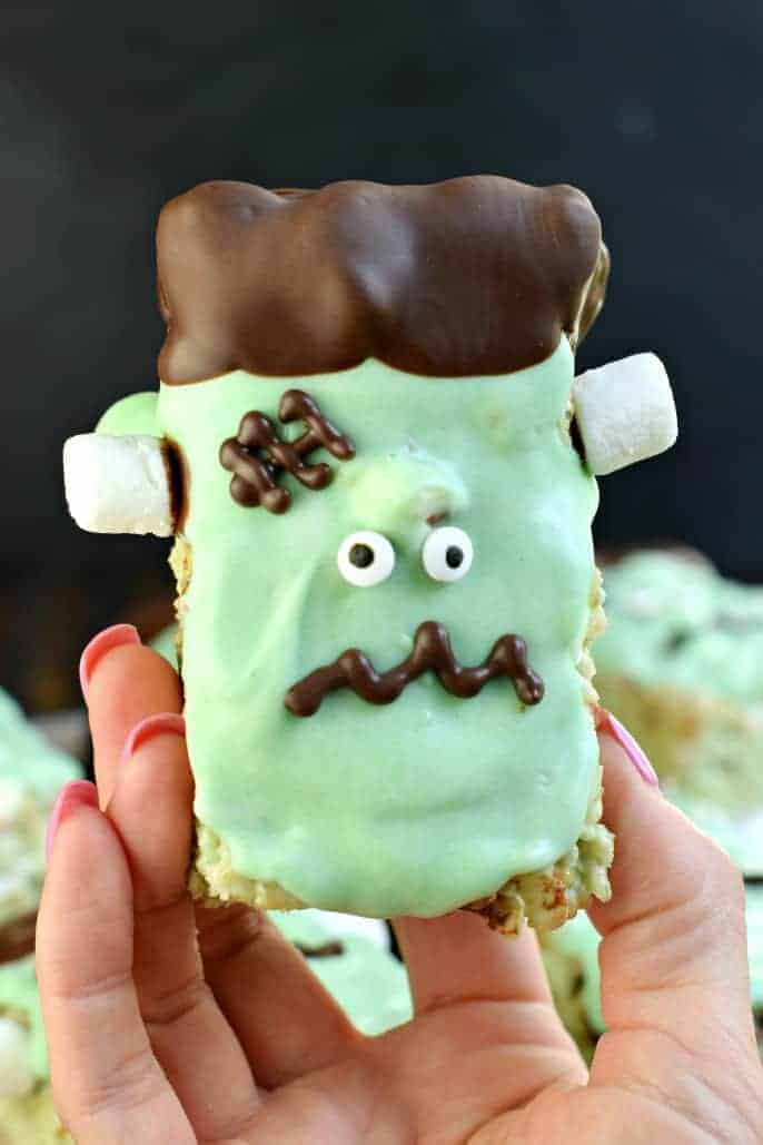 Mint chocolate chip rice krispie treats decorated to look like Frankenstein,