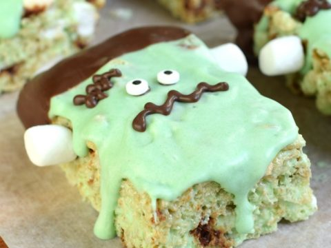 Thick and Chewy Mint Chocolate Chip Rice Krispie Treats Recipe