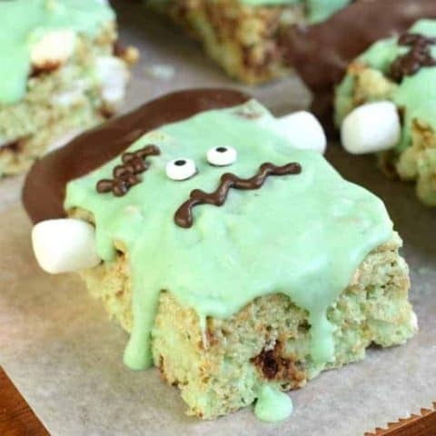 Mint chocolate chip rice krispie treat decorated like Frankenstein.