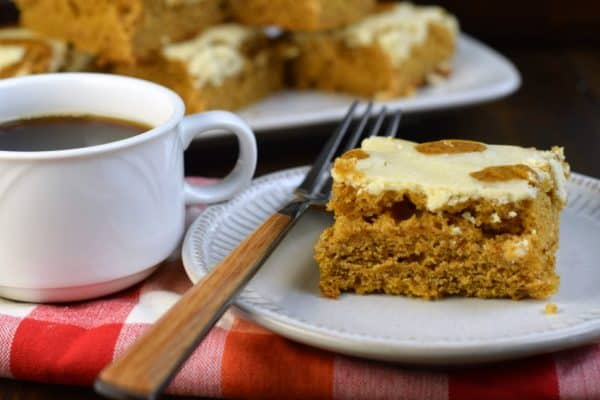 Pumpkin Cheesecake Bars with a cup of coffee. The perfect dessert.