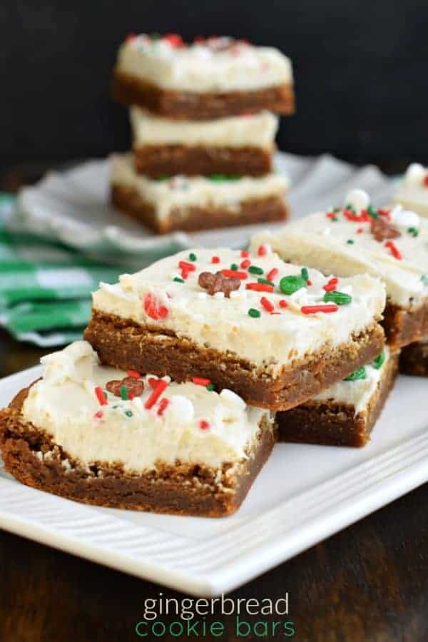 Soft and chewy Gingerbread Cookie Bars topped with Cream Cheese frosting #christmas #gingerbread