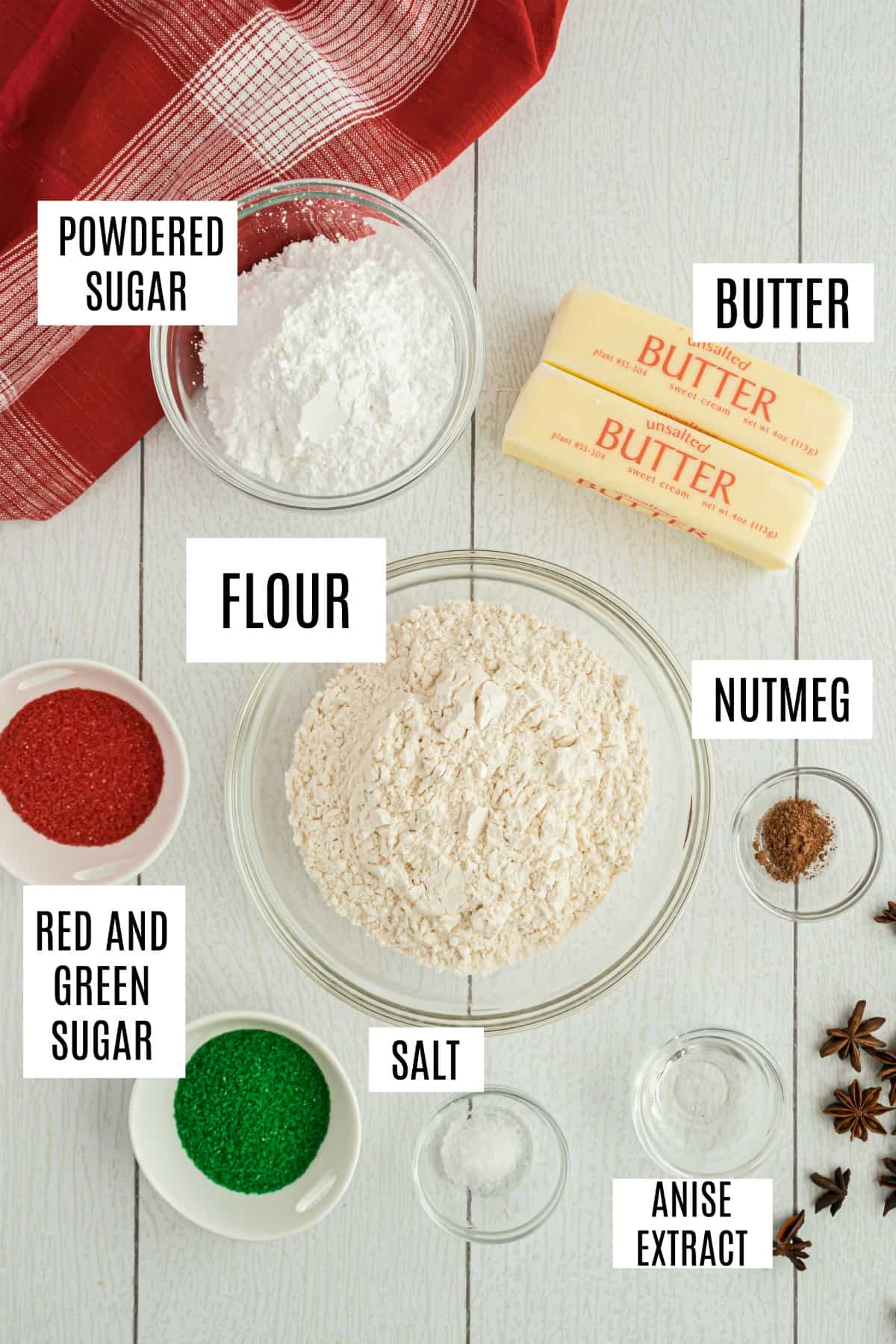 Ingredients needed to make jingles cookies including anise extract.