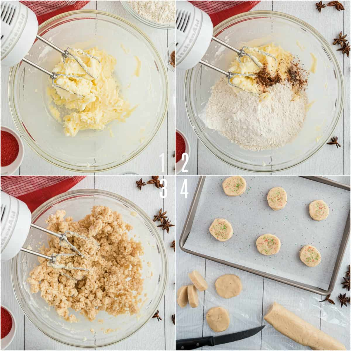 Step by step photos showing how to make jingles anise cookies.