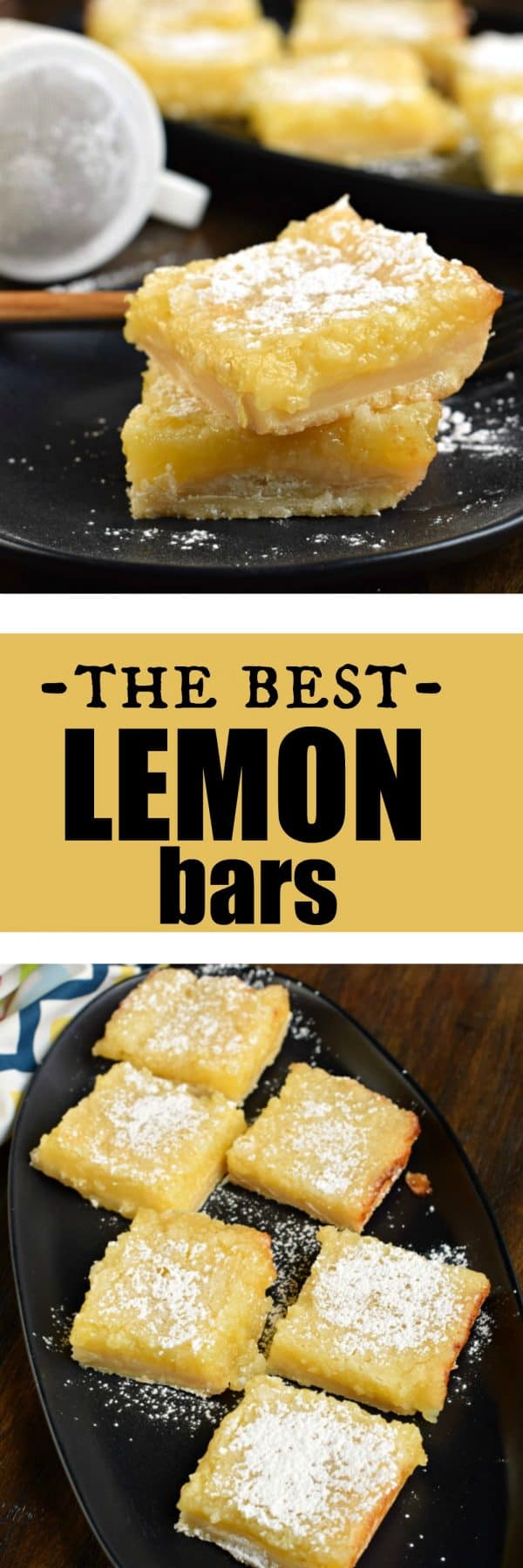 The Best Lemon Bars: shortbread cookie crust, tart lemon filling, lemon glaze, and powdered sugar #lemonbars