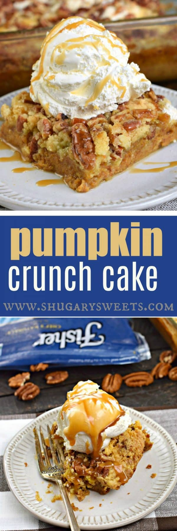 Delicious layers of pumpkin pie and yellow cake combine to make this sweet and salty Pumpkin Crunch Cake recipe @fishernutsbrand #thinkfisher #sponsored