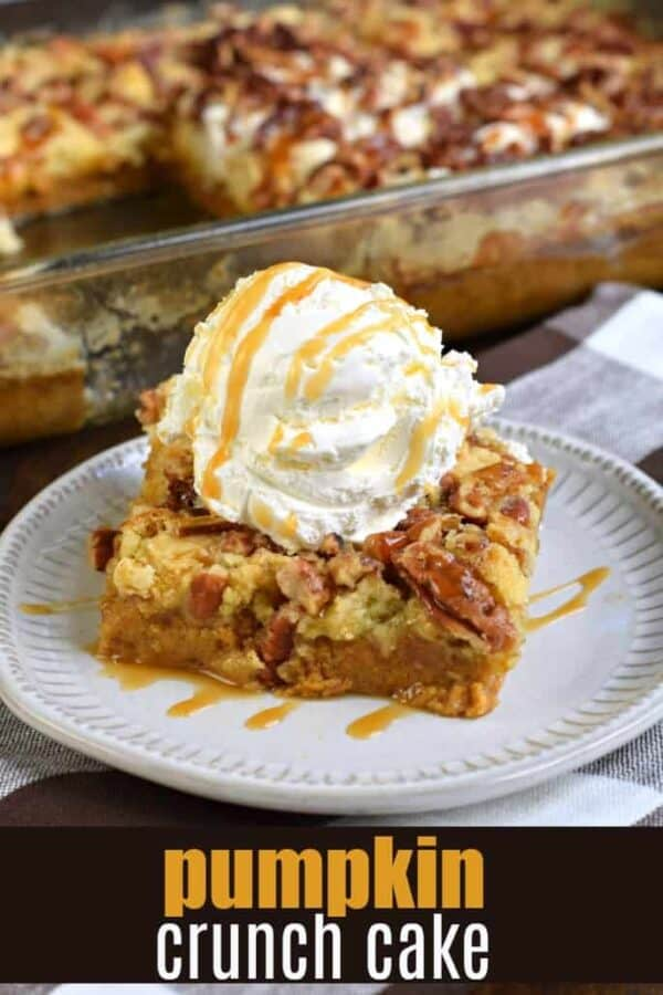 Sweet and Salty, you'll love this Pumpkin Crunch Cake recipe. With layers of pumpkin pie, yellow cake mix, and pecans, this pumpkin dump cake is a tried and true crowd pleaser!