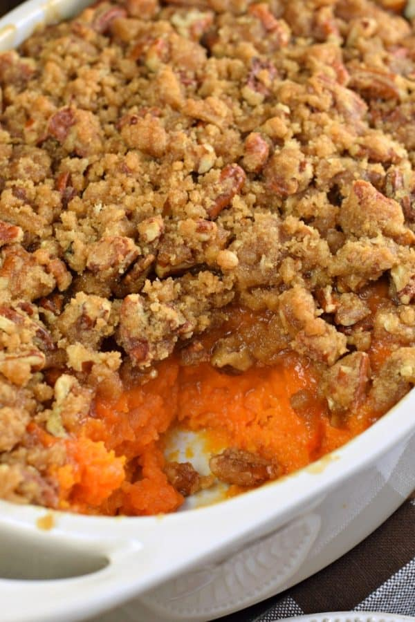 Sweet Potato Casserole with Pecan Crunch topping