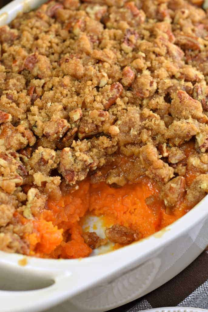 The Best Sweet Potato Casserole recipe with a crunchy pecan streusel topping! #thanksgiving #copycatrecipe #sweetpotato #sidedish