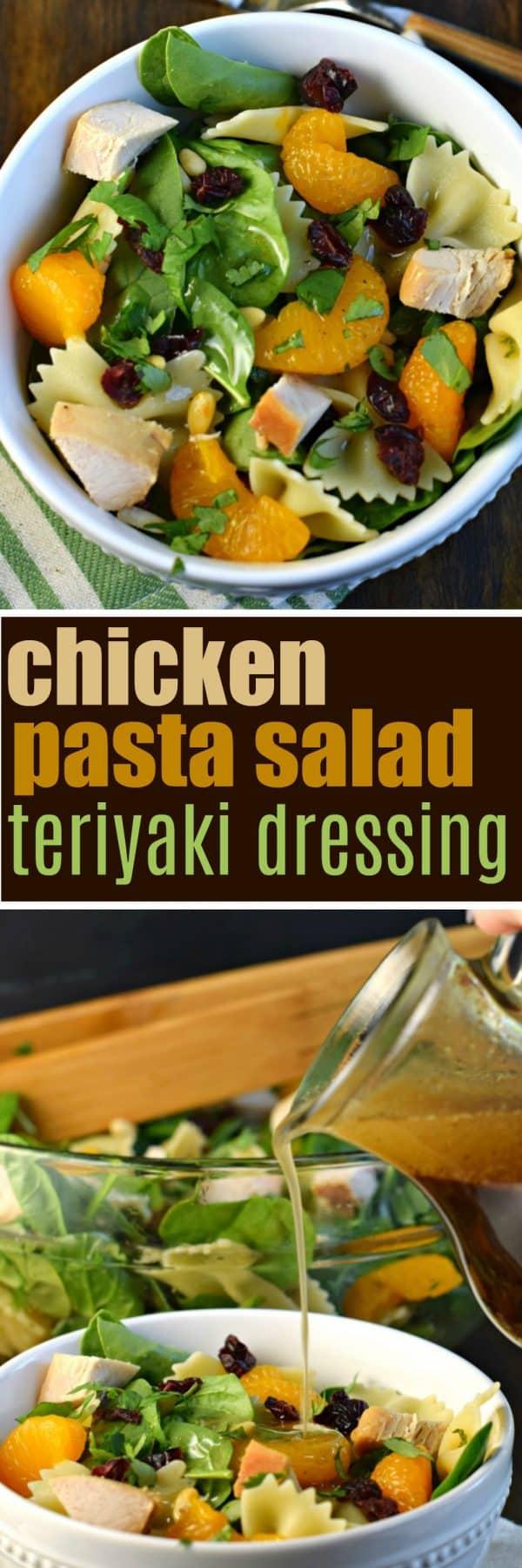 Chicken Pasta Salad with Teriyaki Vinaigrette Dressing #easydinner #30minutemeals