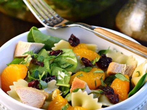 Mandarin Chicken Pasta Spinach Salad With Teriyaki Dressing Recipe