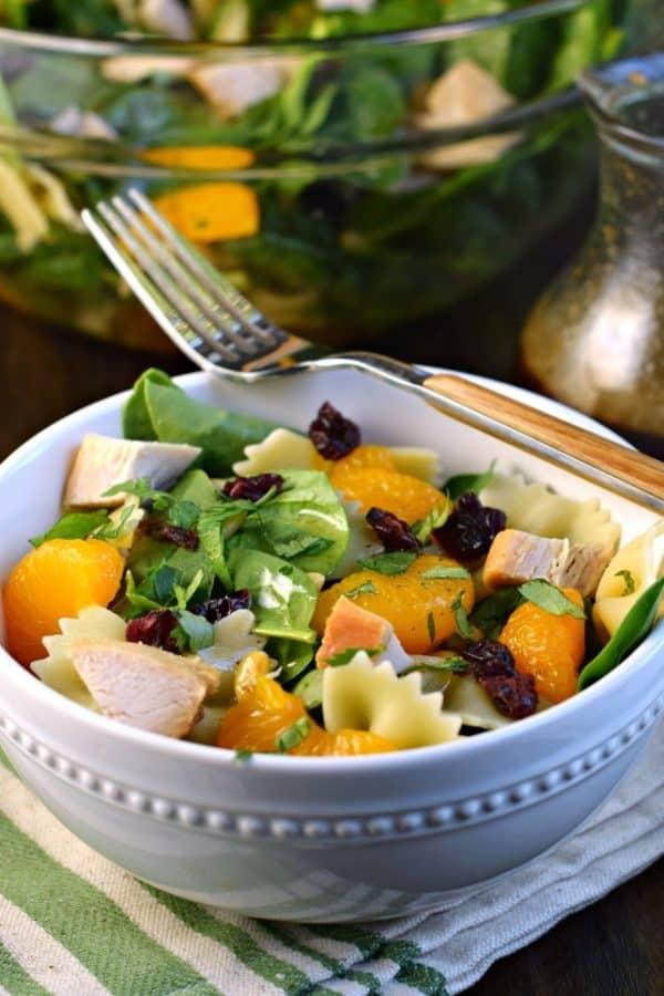 Easy dinner: Mandarin Pasta Spinach Salad with Teriyaki Dressing