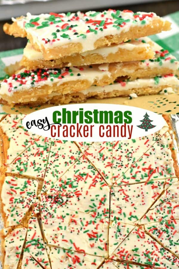 Christmas Crack candy recipe: melt in your mouth saltine toffee topped with white chocolate and holiday sprinkles #christmascandy #crack #christmas