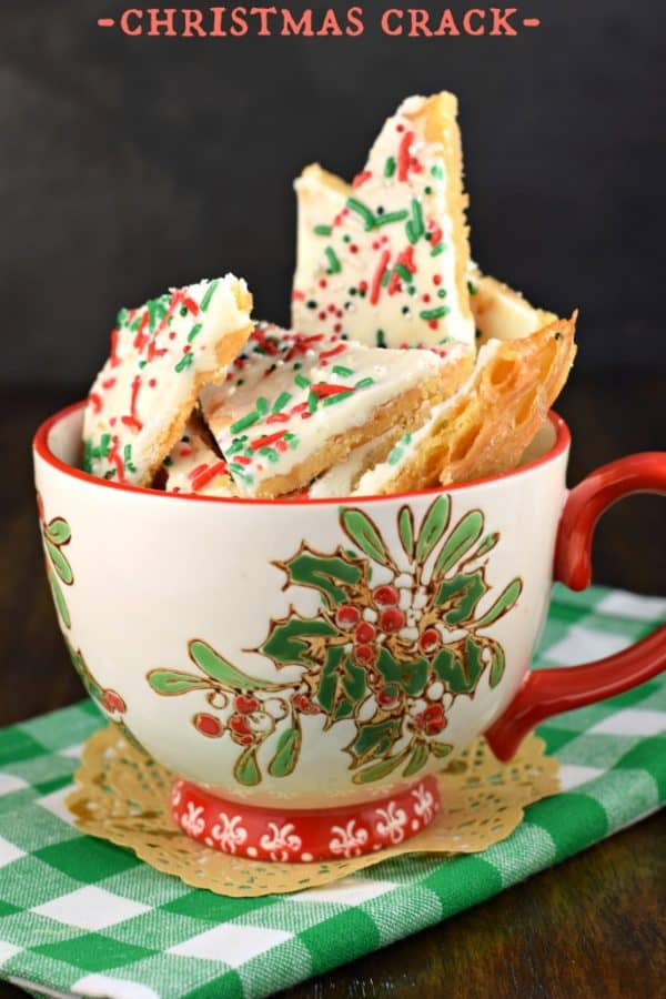 Christmas Crack: saltine toffee with festive holiday sprinkles #candy