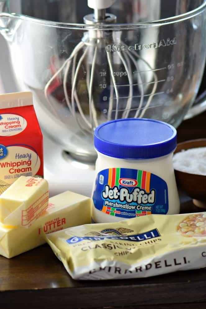 Ingredients needed to make basic vanilla fudge.