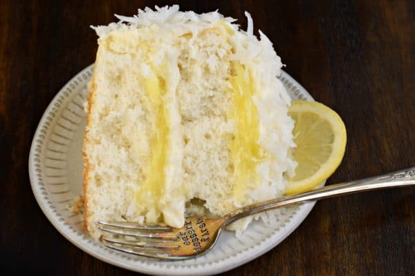Lemon Curd Coconut Cake recipe with cream cheese frosting