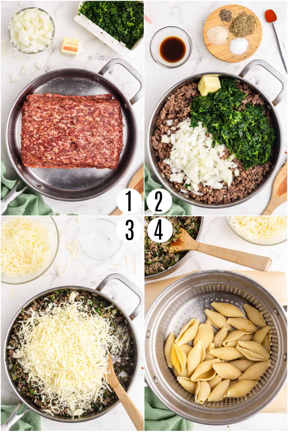 Step by step photos showing how to prepare ingredients for stuffed pasta shells.