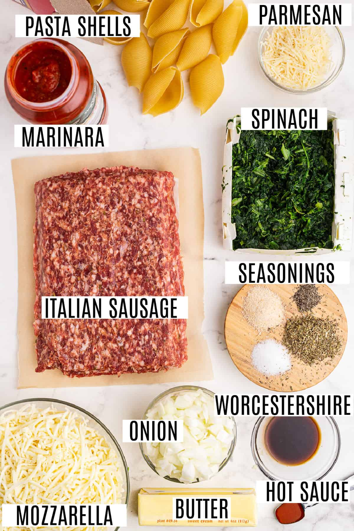 Ingredients needed for sausage stuffed shells.