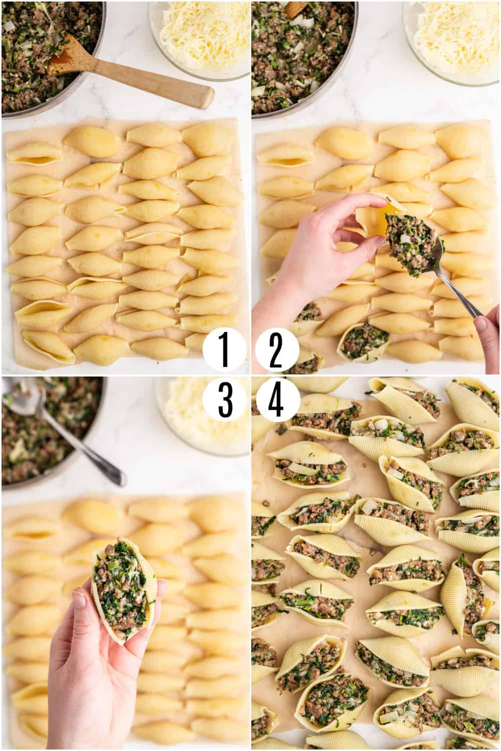 Step by step photos showing how to stuff pasta shells.