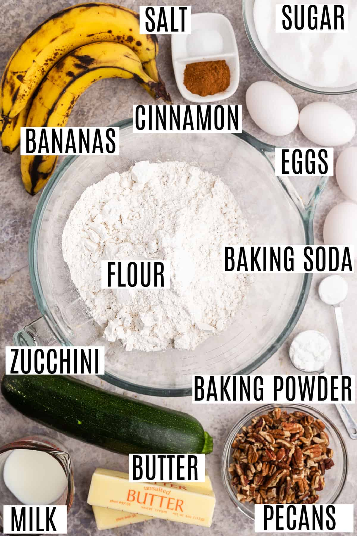 Ingredients needed for zucchini banana bread.