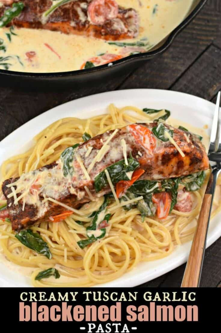 CreamyTuscan Garlic Blackened Salmon Pastahas a cheesy garlic sauce with cherry tomatoes and fresh spinach! Serve over pasta for a restaurant quality meal in under 30 minutes!
