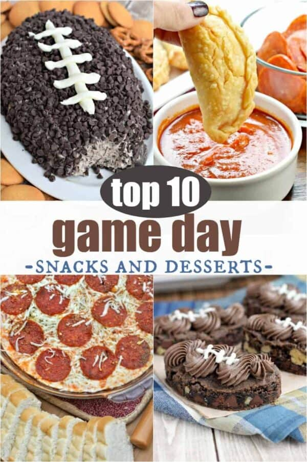 Top 10 Game Day snacks and desserts. From football shaped treats to pizza and blt dips! #superbowlsunday #gameday