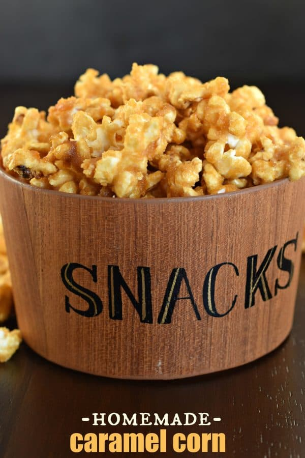 Delicious, melt in your mouth Homemade Caramel Corn recipe! #snack
