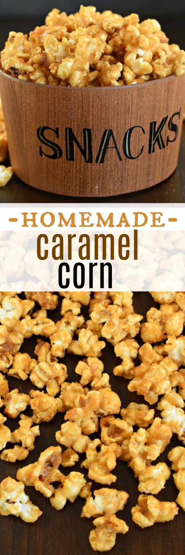 Sweet and crunchy, this Homemade Caramel Corn is the best ever, melt in your mouth treat! Perfect for your next movie night. #caramelcorn #homemade #snack
