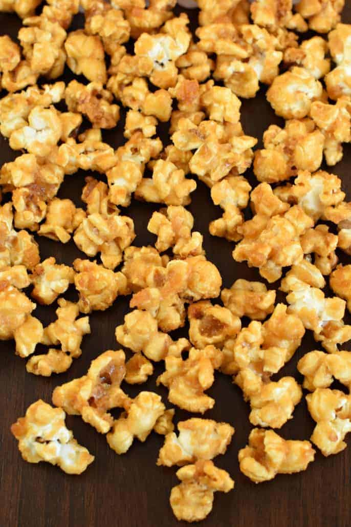 Sweet and crunchy, this Homemade Caramel Corn is the best ever! Perfect for your next movie night.