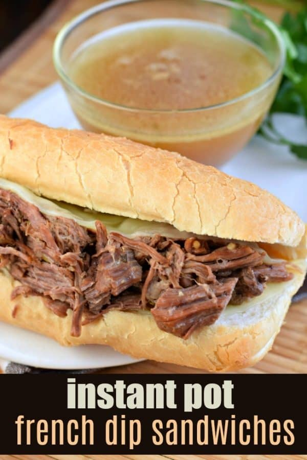 Tender roasted, French Dip Sandwiches cooked in the Instant Pot. Piled on a crusty french roll with extra cheese, this flavorful dinner is then dipped in au jus! #pressurecooker #instantpot #weeknightdinner #dinnerideas #dinnerrecipes #frenchdip