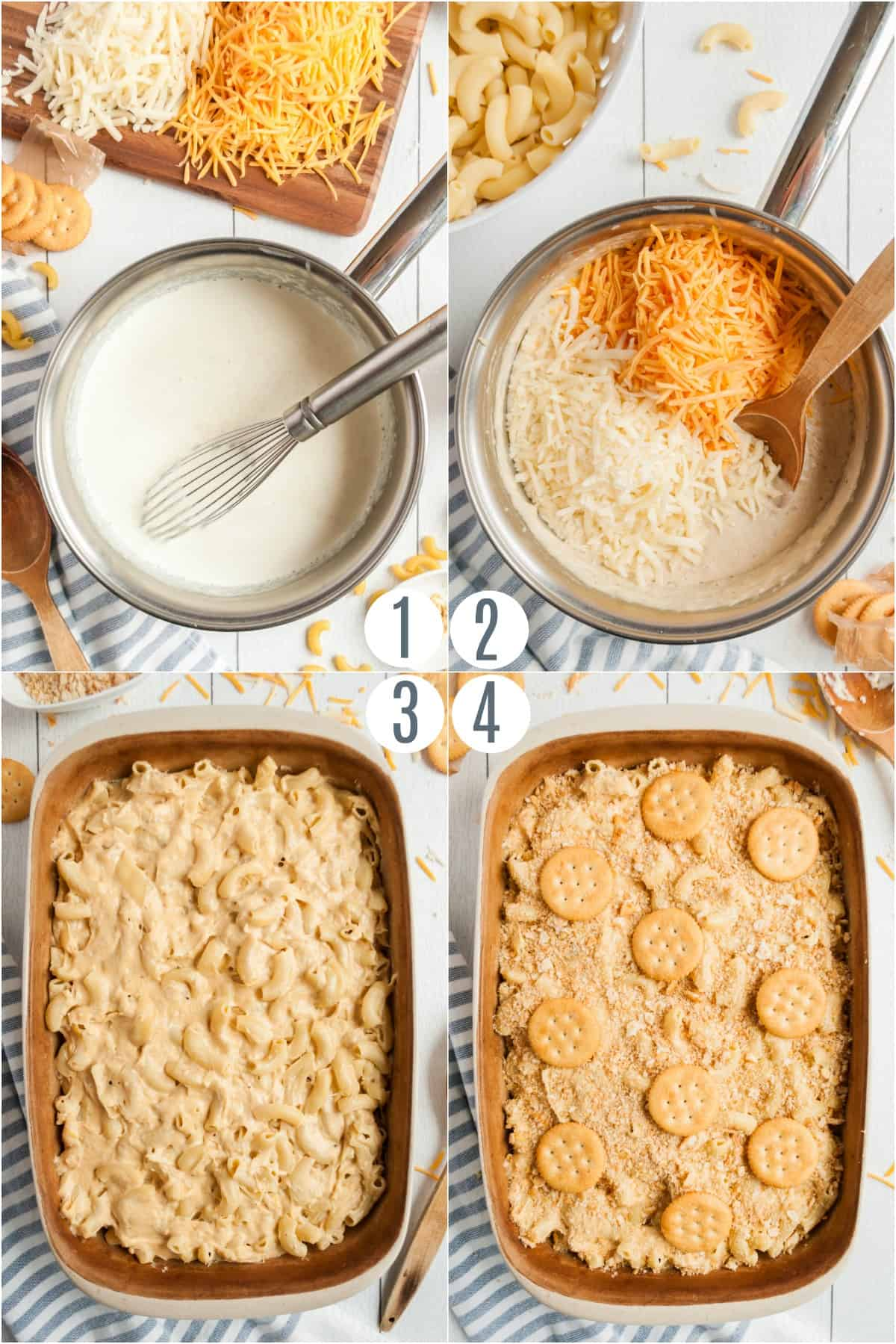 Step by step photos showing how to make homemade mac and cheese.
