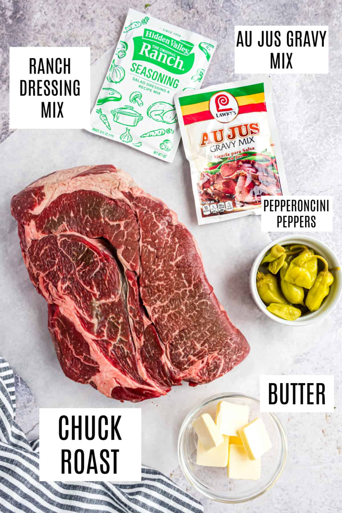 Ingredients needed to make mississippi pot roast in the slow cooker