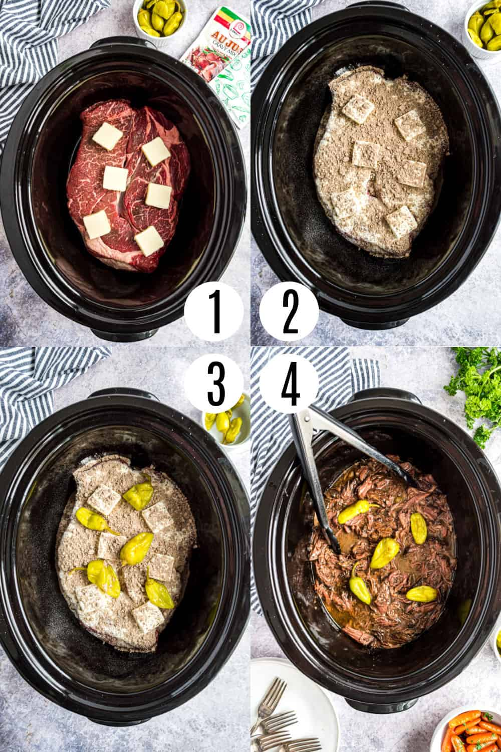 Step by step photos showing how to made slow cooker mississippi pot roast.