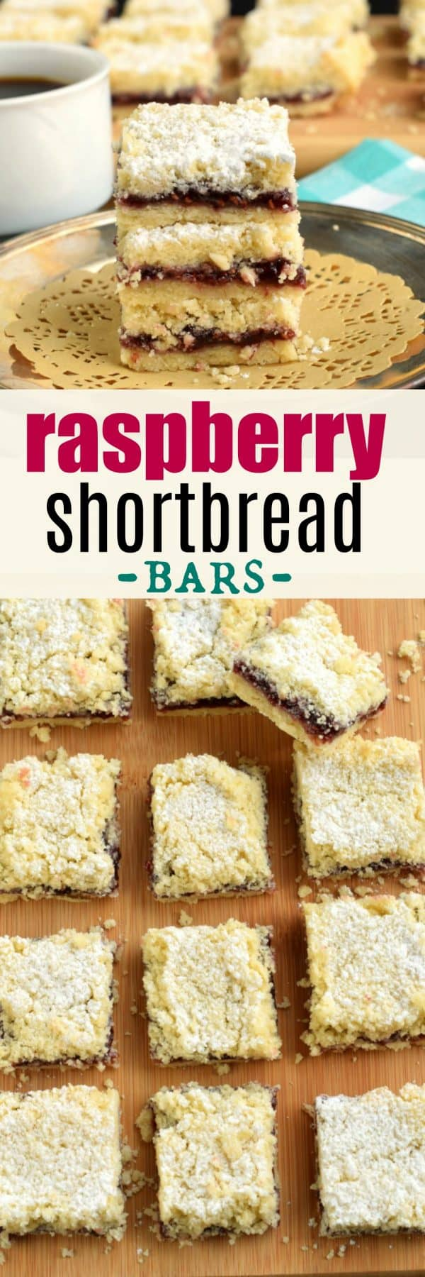 Melt in your mouth, Raspberry Shortbread Bars with a delicious crumble on top! #shortbread #cookies #cookierecipe #raspberrybar