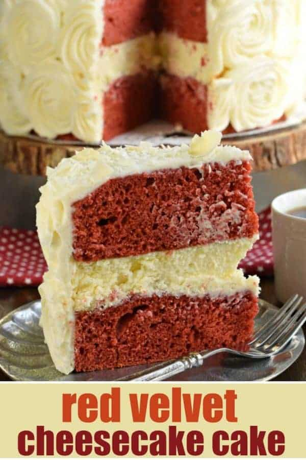 The BEST Red Velvet Cheesecake Cake recipe starts with two layers of homemade red velvet cake with a layer of cheesecake in the middle. Topped with delicious cream cheese frosting!