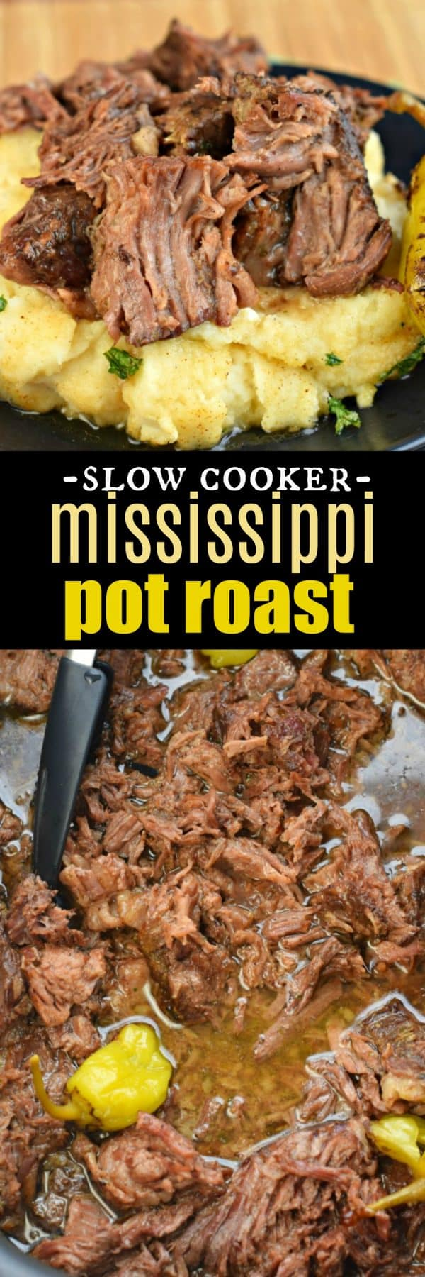 Fork tender, melt in your mouth, Mississippi Pot Roast recipe. A Naturally low-carb dinner idea made in the slow cooker!