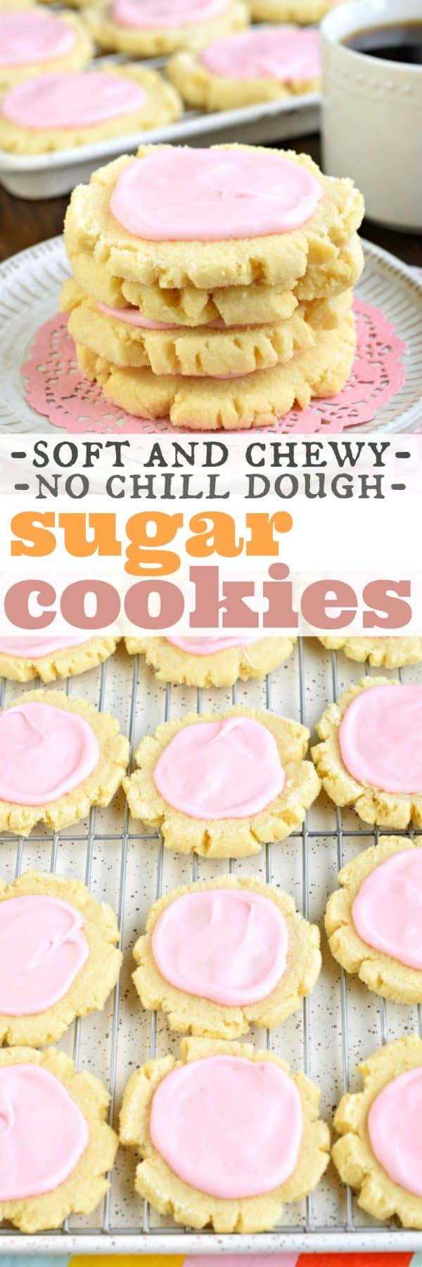 The best, chewy Sugar Cookies with a no-chill dough. Topped with a creamy sugar cookie icing, you'll love this Copycat Swig Sugar Cookie recipe! #cookies #sugarcookies #cookierecipes #dessert