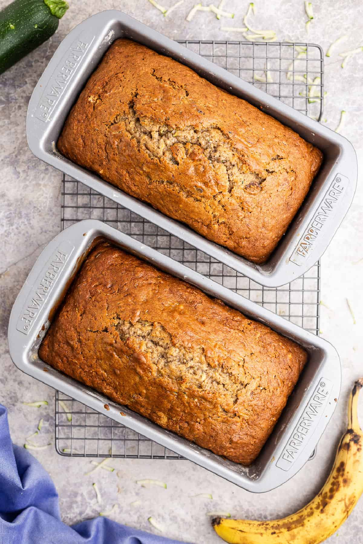 Zucchini banana bread in loaf pans.