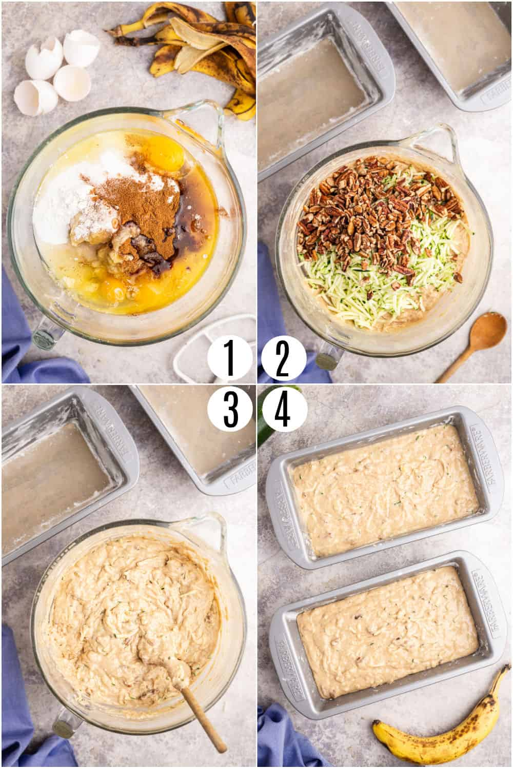 Step by step photos showing how to make banana zucchini bread.