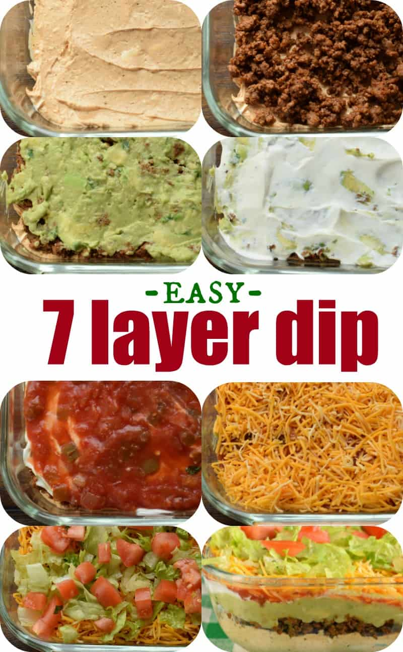 Step by step photos showing how to make seven layer dip in a glass dish.